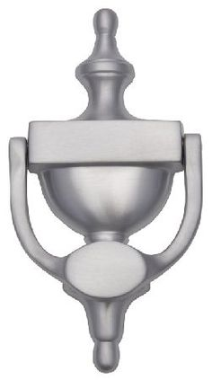 M.Marcus Heritage V910 Satin Chrome Exterior Urn Door Satin chrome urn pattern door knocker. Overall length is approximately 195mm and width is 100mm. Distance between the fixing bolts is 114mm. This satin chrome plated brass door knocker is part of the  http://www.MightGet.com/january-2017-12/m-marcus-heritage-v910-satin-chrome-exterior-urn-door.asp