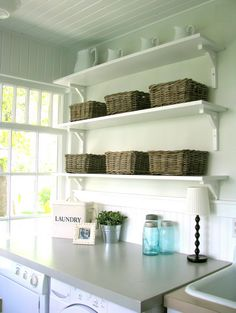 Wicker baskets are a great staple for a rustic cottage home and provide endless storage opportunities.