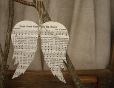 Recycled hymnal angel (lots of other awesome ideas - Illustration Art Papercraft Paper Ornaments, Diy Christmas Ornaments, How To Make Ornaments, Holiday Crafts, Handmade Christmas, Sheet Music Crafts, Old Sheet Music, Sheet Music Ornaments Diy, Christmas Music