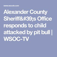 Alexander County Sheriff's Office responds to child attacked by pit bull | WSOC-TV