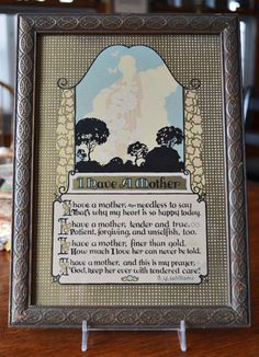 Vintage 1940s Mother Poem Framed Wall Hanging by OnTheBlvdVintage
