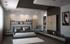 Interior Bedroom Decor With Ceiling Light Ideas And Wall Bookshelf Also Using Wood Flooring