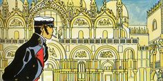 Corto Maltese in Venice at the Ducal palace - by Hugo Pratt
