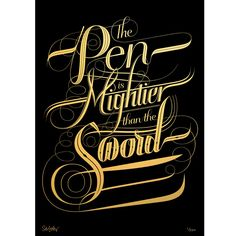 Seb Lester 'Mightier' - Gold foil blocked limited edition print - Prints & Editions