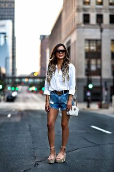 5 Staples For A Chic Summer Wardrobe - Outfit Details: H&M White Button-Down Similar Denim Shorts Gucci Belt White Bralette Gucci Marmont Bag BaubleBar Layered Necklace Chloe Wedges Celine Sunglasses June 2017 by maria Short Outfits, Casual Outfits, Summer Outfits, Cute Outfits, Fashion Outfits, Fashion Hats, Womens Fashion Online, Latest Fashion For Women, Wedges Outfit