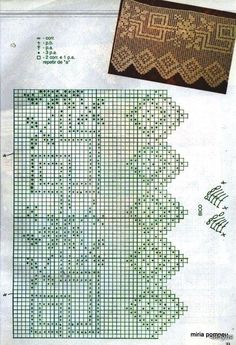 Filet crochet. Puntilla vertical. Pattern. Patrón.