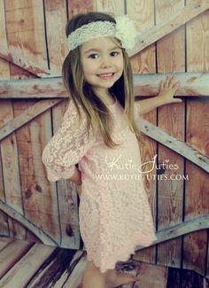 Kutie Tuties - Lace Dress, Flower girl dress, wedding, rustic, vintage, pink, ivory, white, toddler, girl