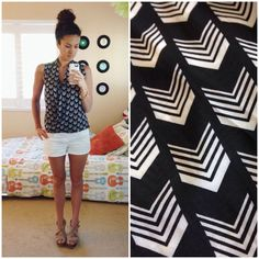 Stitch Fix Dani Arrow Print Cross-Front Blouse-- Love the pattern and that it's sleeveless. The construction of the front is really interesting.