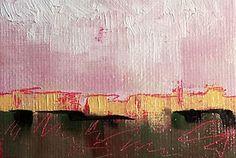 "ACEO Oil Painting ""Abstract Landscape-Pink Cliffs"" Original Fine Art Easel Art"