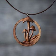 Hand Carved Oak Mushroom Pendant / Wooden Necklace by GilesNewman