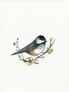 Sweet Chickadee / Flower Bird / Spring /  Bird / Watercolor Print / Winter Bird / Nursery Art / Woodland