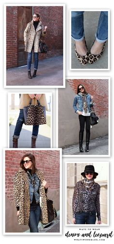 Jessica Quirk of What I Wore shows multiple ways to style denim and leopard