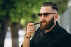 Bald Men With Beards, Bald With Beard, Man Smoking, Cigar Smoking, Shaved Head With Beard, Shaved Heads, Gangster Style, Cigar Men, Male Pattern Baldness