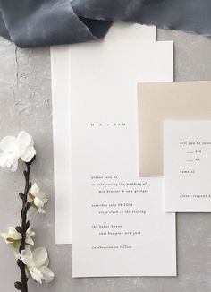 Minimalist wedding invitation Mia Wedding Invitation August and White