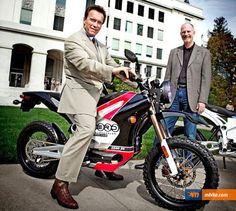 Arnold Schwarzenegger on a Zero Motorcycle