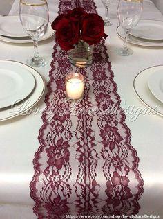 Evening dress burgundy table runner
