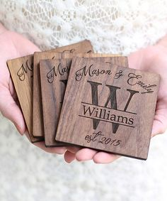 Look at this #zulilyfind! Authentic Dark Personalized Walnut Coasters - Set of Four #zulilyfinds