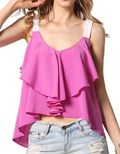 eshion Women Sexy Casual Spaghetti Strap V-Neck Ruffles Loose Chiffon Tops (L). Comfortable chiffon fabric,Spaghetti Strap,Flouncing Decor. Style:Purple,V-neck,Unique Irregular Design,No pocket,No Zipper,Solid,Loose,Sexy Tank. Fashion and elegant item which is suitable for any occasion.Bright color lightup your summer. Garment Care: Hand-wash and Dry Clean.Package Content: 1 x Women Tops. There are 3 sizes available:(M, L, XL)Please check the detail measurement in our PRODUCT DESCRIPTION...