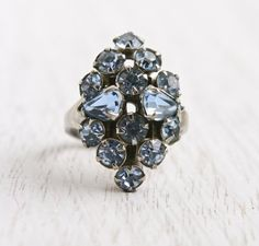 Vintage Blue Rhinestone Ring - Statement Adjustable Silver Tone Costume Jewelry Cocktail Ring / Baby Blue Navette