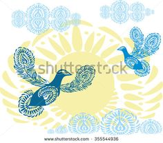 Blue peace doves on the background of yellow sun with clouds. Birds of Paradise flying towards the sky. Patterned birds. Abstraction, symbolism