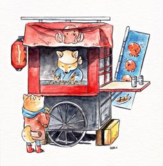 Takoyakis by Dliok on DeviantArt Japanese Watercolor, Japanese Art, Watercolor Illustration, Watercolor Paintings, Watercolour, Building Drawing, Kawaii Art, Art Sketchbook, Aesthetic Art
