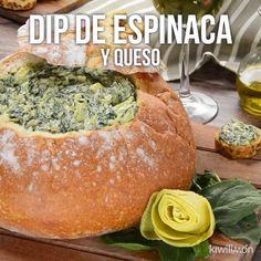 Dip de Espinaca, Alcachofa y Queso - Appear Tutorial and Ideas Dip Recipes, Veggie Recipes, Great Recipes, Cooking Recipes, Healthy Recipes, Cajun Cooking, Tasty Videos, Food Videos, Vegetarian Kids