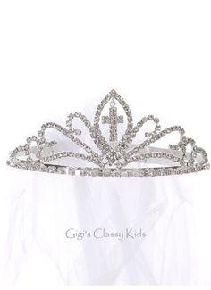Girls Rhinestone Crown First Communion Veil Headpiece Baptism Christening 16