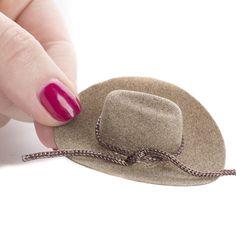 77fa7bc4b3c Brown Flocked Miniature Cowboy Hat Hat Making