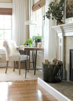 Modern Farmhouse Fall Family Room Tour & Mini Makeover-Ikea Hacked Desk & Vintage Light. Restoration Chair, Target Basket