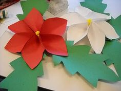 Art Dish: Paper Poinsettias --would change the leaves but otherwise cute version Christmas Projects For Kids, Christmas Arts And Crafts, Christmas Activities, Holiday Crafts, Christmas Holidays, Crafts For Kids, Christmas Decorations, Christmas Ornaments, Winter Holidays