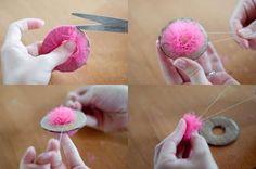 Para fazer pompons de todos os tamanhos. Essa técnica é usada para quaisquer materiais. Use tule, malha, lã, fio, sisal, ráfia...