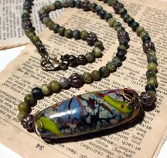 Handmade Lampwork Glass Bead Necklace with Yellow by foxaz on Etsy, $30.00