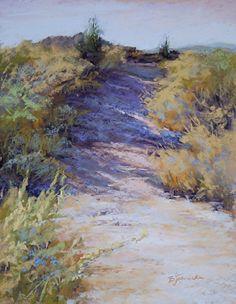 Uphill Climb by Barbara Jaenicke Pastel ~ 14 x 11 (ooh look at those shadows!)