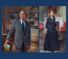 """When Bush spoke after his presidential photo was unveiled- his speech was pretty amazing.  Bush said: """"Mr. Obama, when you are facing a tough decision feel free to come over here, look at my photo and ask yourself 'What would George Bush do?'"""".  (WWGBD) :)"""