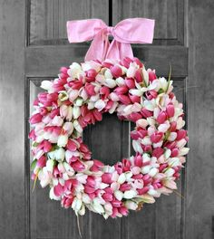 Pink Tulip Wreath Mothers Day Gift Spring Decor Mother's Day Wreath Spring Wreath Mother's Day Gift Gift for Her Gift from Kids USD) by RefinedWreath Diy Wreath, Mesh Wreaths, Wreaths For Front Door, Floral Wreaths, Wreaths Crafts, Burlap Wreaths, Wreath Ideas, Yarn Wreaths, Summer Wreath