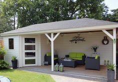 Tuinhuis met veranda Mississippi 07 (afmeting 7 x 3 meter)  Afmetingen 7.00 m. x 3.00 m. Tuinhuis 2.30 m. x 3.00 m. met veranda van 4.50 m. x 3.00 m.  Het vijfhoekige tuinhuis is voorzien van een zoldertje van OSB platen, een 4- vlaks deur en een vast raam.  Dakbedekking dakshingels en kappen met bol. Ramen, Mississippi, Shed, Outdoor Structures, Outdoor Decor, Home Decor, Google, Gardening, Kitchen