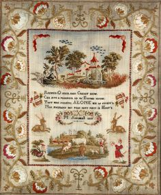 ♒ Enchanting Embroidery ♒  Embroidered 19th Century English Sampler Stitched By M. Aspinwall in 1833
