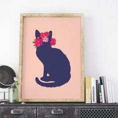 Poster ou Tela MDF - Flower Cat