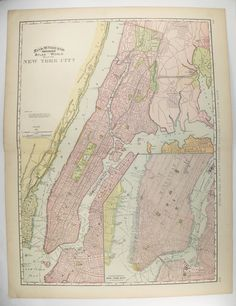 Large Antique Map New York City 1897 Vintage New York City Map NYC Office Decor Gift for Coworker, NYC Wedding Gift for Couple NYC Metro Art available from OldMapsandPrints.Etsy.com #NewYorkCityLargeVintageMap #LargeAntiqueMapofNYC #NYCLargeOldMap