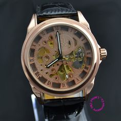 17.91$  Buy here - http://ali54i.shopchina.info/go.php?t=666944856 - Coupon for wholesale buyer price good quality skeleton luxury genuine leather rose gold mechanical AUTOMATIC SELF WIND men watch  #magazineonlinebeautiful