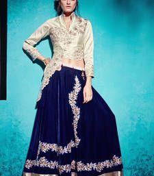 Buy Off white embroidered bhagalpuri semi stitched salwar with dupatta pakistani-salwar-kameez online