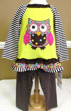 Rare Editions Owl Outfit Top and Leggings Brown Stripes and Dots www.specialtykidswear.com