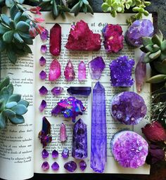 This is so freaking pretty. I LOVE the purple + pink crystals & the succulents & book just make it even more beautiful // ✨PrincessChelRB✨ #gemstones #crystals #magic