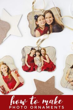 DIY Photo Ornaments - How to Make Photo Transfer Ornaments Diy Photo Ornaments, Photo Christmas Ornaments, Wood Ornaments, Christmas Crafts, Homemade Ornaments, Christmas Ideas, Ruler Crafts, How To Make Photo, Print My Photos