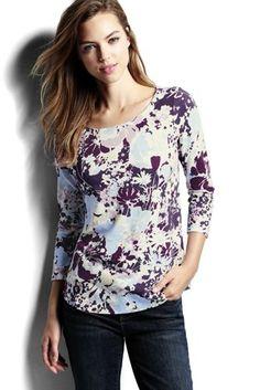 44ee2cceec4b1 Lands  End Women s Art T-shirt-Oatmeal Tan Heather Geos
