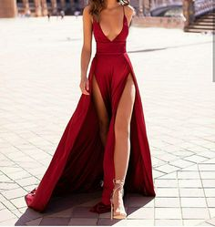 Evening Dress ,Thigh High Slits Sexy Evening Dress Elastic Satin Concise Long Party Gowns Spaghetti Straps Deep V Neck Hot Evening Dresses Inexpensive Prom Dresses, Elegant Dresses, Pretty Dresses, Sexy Dresses, Beautiful Dresses, Fashion Dresses, Sexy Long Dress, Sexy Gown, Deep V Dress