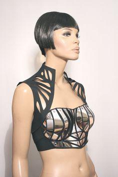 chrome armour corset top, futuristic, sci fi, metallic chrome bustier, futuristic wear,show costume, theatre,performer, halloween costumes,