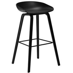 About a Stool Bar stool - H 75 cm - Plastic & wood legs White and black stained wood by Hay Bar Stool Chairs, Cool Chairs, Counter Stools, Dining Chairs, Kitchen Stools, Dining Room, Ikea Chairs, Pink Chairs, White Chairs