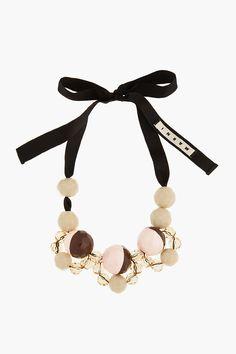 MARNI EDITION Tan Oversize Beaded Ribbon-Tied Necklace