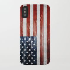 The American flag painted on wooden planks. #iphonex #usa #america #american #flag #wooden #wood #4th #4thofjuly #independenceday #patriot #iphone #case #smartphone #samsung